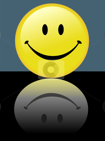 Bright Shiny Smiley Happy Face Reflection on Background stock vector clipart, A bright shiny smiley happy face reflects a good attitude in its reflection on a background. by Michael Brown
