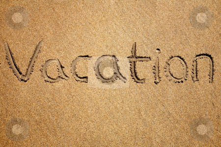 Vacation, written on a sandy beach. stock photo, Vacation, written on a sandy beach. by Stephen Rees