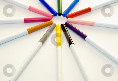 Coloring Markers stock photo, Colored markers lined up and making a circle by Richard Nelson