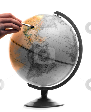 Man Painting The World stock photo, A model of the globe being painted in color, isolated on a white background by Richard Nelson