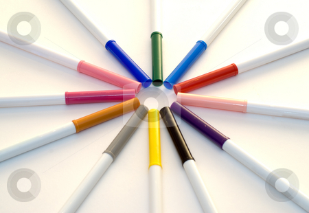 Markers stock photo, Colorful markers lined up making a circle by Richard Nelson