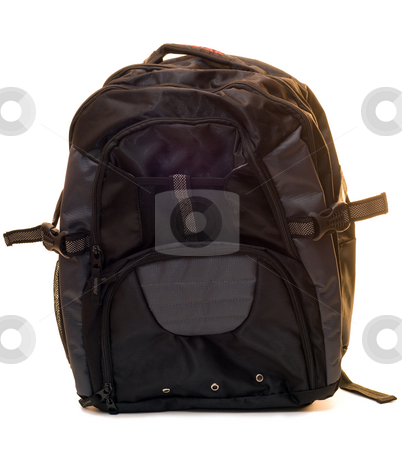 Isolated Backpack stock photo, A child's backpack isolated on a white background by Richard Nelson