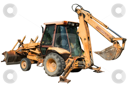 Isolated Backhoe stock photo, An isolated backhoe with the shovel raised and the balance bars lowered by Richard Nelson