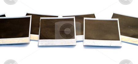 Polaroids stock photo, A line of polaroid film, isolated on a white background by Richard Nelson