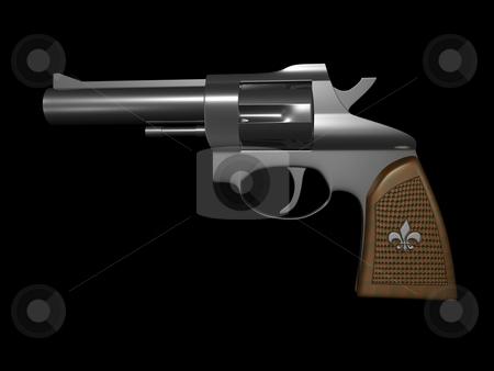 Hand gun  stock photo, Hand gun side view on black background 3d render by John Teeter