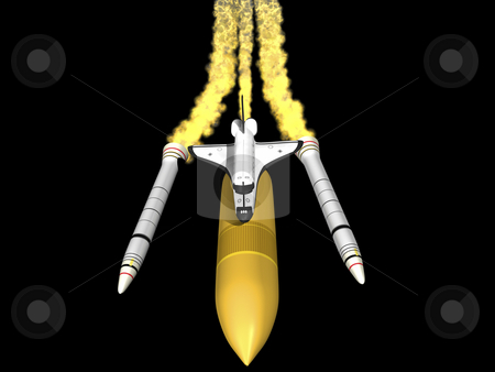 Space shuttle  stock photo, Space shuttle seperating on black background front top view by John Teeter