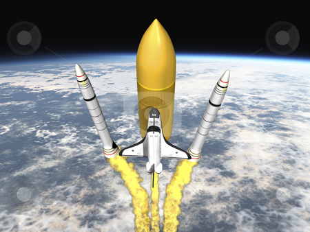 Space Shuttle stock photo, Shuttle leaving earth and seperating 3d render Top view. by John Teeter