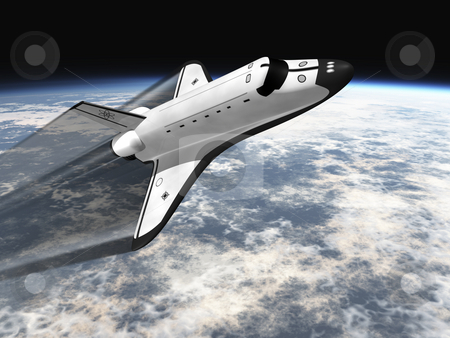 Space shuttle  stock photo, Space Shuttle leaving earth 3d render going right with jet stream by John Teeter