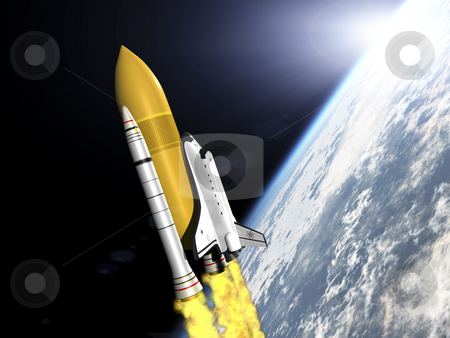 Space Shuttle stock photo, Shuttle leaving earth 3d render side view by John Teeter