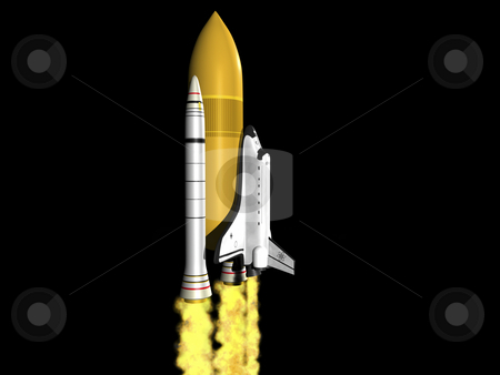 Space shuttle launching  stock photo, Space shuttle launching side viw on black background by John Teeter