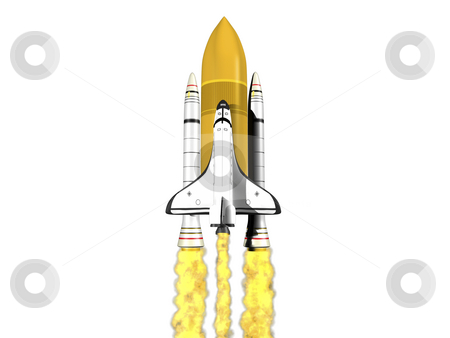 Space shuttle launching  stock photo, Space shuttle launching on white background with fire by John Teeter
