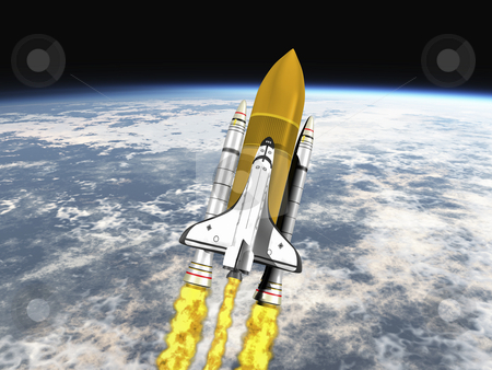 Space Shuttle stock photo, Shuttle leaving earth 3d render mid view by John Teeter