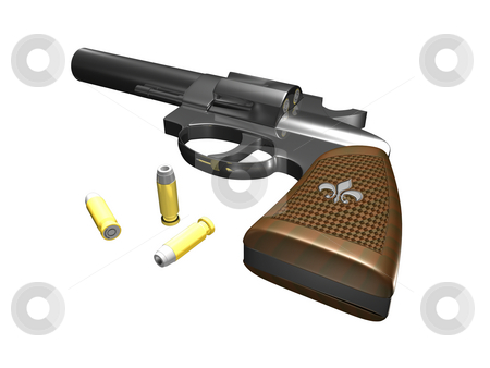 Handgun  stock photo, Handgun facing up on white background with ammo 3d render by John Teeter