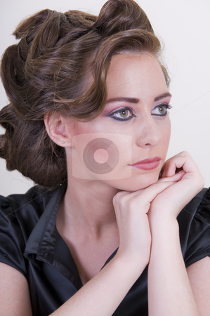 Portrait of a glamorous model stock photo, Glamorous portrait of a sexy young woman. by Nicolaas Traut