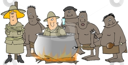 Cannibals stock photo, This illustration depicts a group of cannibals preparing missionaries for dinner. by Dennis Cox