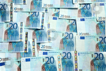 A background of lots of 20 Euro currency bank notes. stock photo, A background of lots of 20 Euro currency bank notes. by Stephen Rees