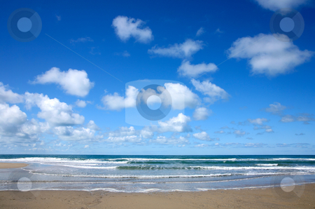 White clouds over the sea in Porthtowan. stock photo, White clouds over the sea in Porthtowan. by Stephen Rees
