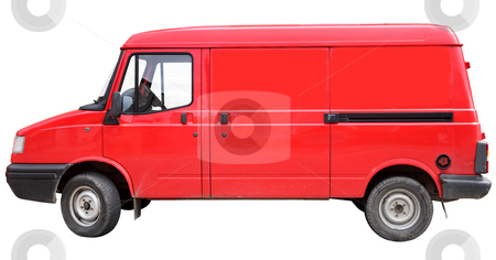 A red van, isolated on a white background. stock photo, A red van, isolated on a white background. by Stephen Rees