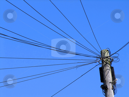 Lots of black telephone lines. stock photo, Lots of black telephone lines. by Stephen Rees