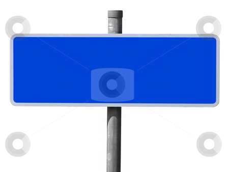 Wide blue blank sign isolated on a white background. stock photo, Wide blue blank sign isolated on a white background. by Stephen Rees