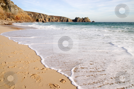 The tide coming in on a sunny day, Porthcurno, Cornwall, UK stock photo, The tide coming in on a sunny day, Porthcurno, Cornwall, UK by Stephen Rees