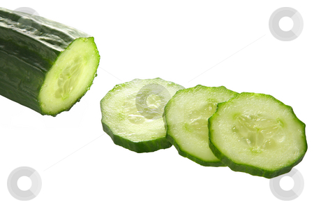 Cucumber slices on white background. stock photo, Cucumber slices on white background. by Stephen Rees
