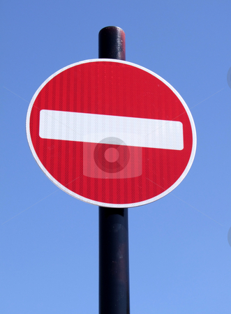 Red no entry road sign. stock photo, Red no entry road sign. by Stephen Rees