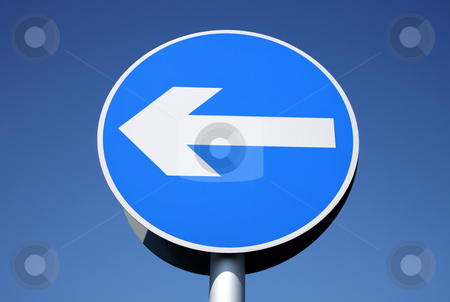 British left turn only one way sign. stock photo, British left turn only one way sign. by Stephen Rees