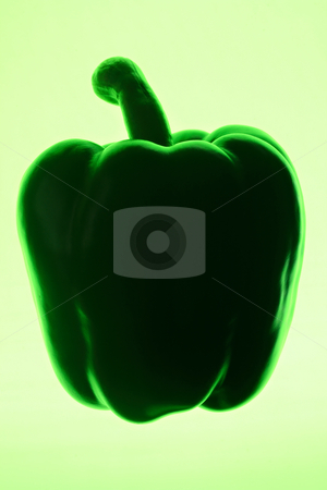 Green bell pepper silhouette on a green background. stock photo, Green bell pepper silhouette on a green background. by Stephen Rees