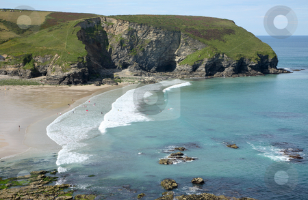 Looking at Portreath beach and Western Hill, Cornwall, UK. stock photo, Looking at Portreath beach and Western Hill, Cornwall, UK. by Stephen Rees