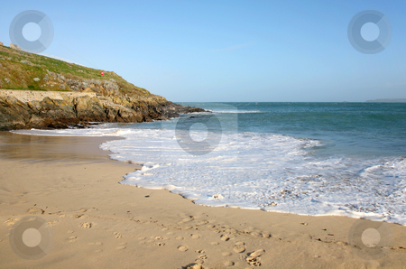 White water on Porthgwidden Beach, St. Ives, Cornwall. stock photo, White water on Porthgwidden Beach, St. Ives, Cornwall. by Stephen Rees