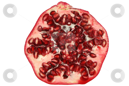 A section of a large red pomegranate, isolated on white. stock photo, A section of a large red pomegranate, isolated on white. by Stephen Rees