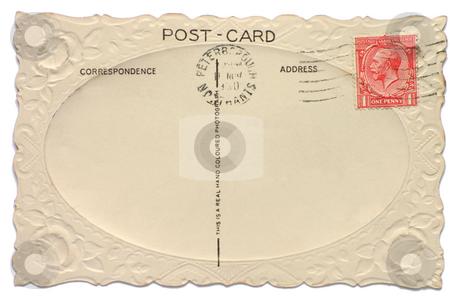 Vintage British postcard with a King Edward one penny stamp stock photo, Vintage British postcard with a King Edward one penny stamp by Stephen Rees