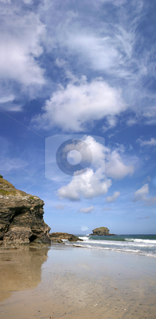 A panoramic view of Gull Rock, Portreath, Cornwall. stock photo, A panoramic view of Gull Rock, Portreath, Cornwall. by Stephen Rees
