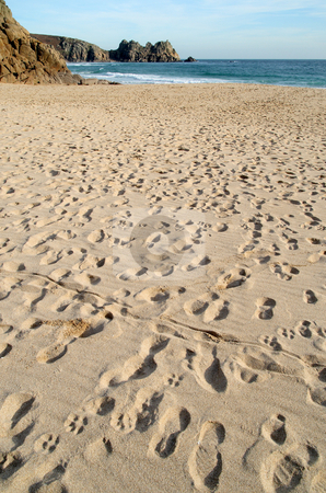 Footprints on the beach at Porthcurno, Cornwall. stock photo, Footprints on the beach at Porthcurno, Cornwall. by Stephen Rees