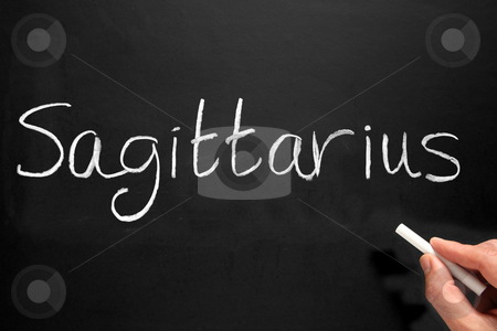 The star sign Sagittarius written on a blackboard. stock photo, The star sign Sagittarius written on a blackboard. by Stephen Rees
