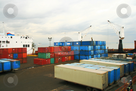 Container yard stock photo, Modular shipping containers on a ship yard by Jonas Marcos San Luis