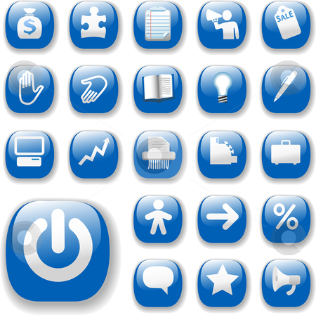 Shiny Buttons Icons Business Internet Website Set 3 Blue stock vector clipart, Shiny Blue Control Button Icons, internet website navigation symbols: money bag, puzzle piece, megaphone, people, bullhorn, price tag, power on, briefcase... by Michael Brown