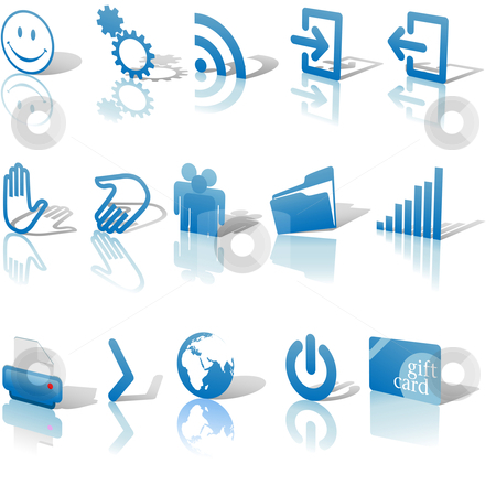 Web Blue Icons Shadows & Relections Angled on White Set 2 stock vector clipart, Blue Angled Icon Symbol Set 2: Printer; Gears; Chart; Earth; People; RSS; etc. On white with shadows & reflection by Michael Brown