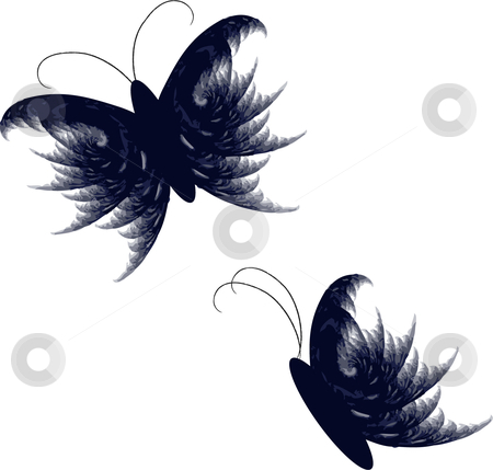 Feathery vector butterfly set stock vector clipart, Feather like Vector butterfly illustrations by Michelle Bergkamp