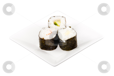 Sushi stock photo, A square white plate with three pieces of sushi by Petr Koudelka
