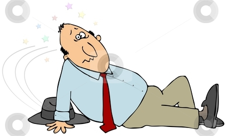 Slip And Fall stock photo, This illustration depicts a man who has just slipped and landed on his butt. by Dennis Cox