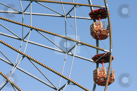 Amusument weel stock photo, Detail from big ferris wheel at amusement park and blue sky by EVANGELOS THOMAIDIS