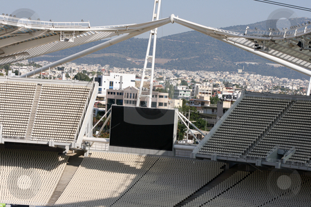Olympic stadium monitor stock photo, Stadium monitor detail from the olympic stadium of athens greece by EVANGELOS THOMAIDIS