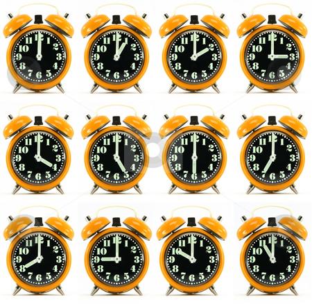Twelve orange hours alarm clock stock photo, Classic small alarm clock twelve hours isolated on white background multiple image orarnge color by EVANGELOS THOMAIDIS