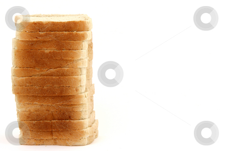 Toast bread with copy-space stock photo, Stack of toast bread slices isolated on white background with copy space by EVANGELOS THOMAIDIS