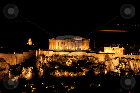 Nights of parthenon stock photo, Landmark of athens greece parthenon at night horizontal by EVANGELOS THOMAIDIS
