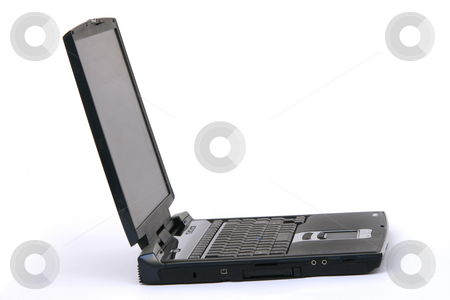 Laptop stock photo, Black laptop isolated on white background business and technology by EVANGELOS THOMAIDIS