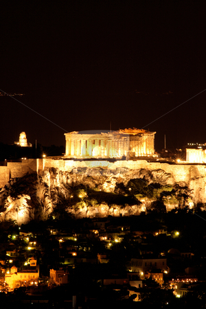 Lights of parthenon stock photo, Landmark of athens greece parthenon at night by EVANGELOS THOMAIDIS