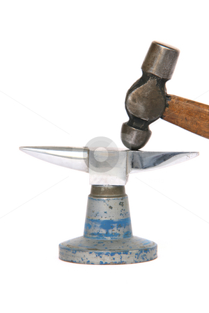 Retro tools stock photo, Tiny inox anvil and small hammer detail isolated on white background by EVANGELOS THOMAIDIS